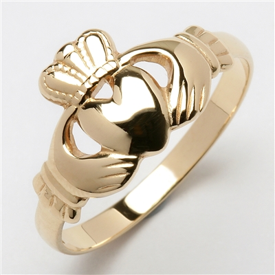 14k Yellow Gold Heavy Small Claddagh Ring 10.5mm
