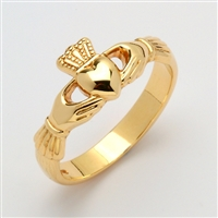 10k Yellow Gold Ladies Xtra Heavy Claddagh Ring 9.5mm