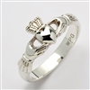 Sterling Silver Ladies Xtra Heavy Claddagh Ring 9.5mm