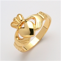 14k Yellow Gold Ladies Medium Claddagh Ring 11mm