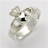 10k White Gold Unisex Xtra Heavy Claddagh Ring 12mm
