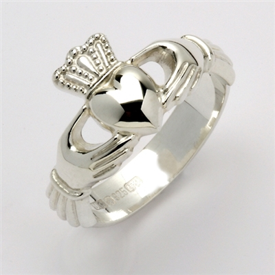 14k White Gold Unisex Xtra Heavy Claddagh Ring 12mm