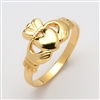 14k Yellow Gold Traditional Men's Claddagh Ring 13.5mm