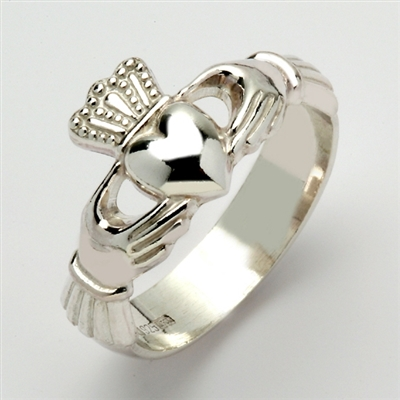 10k White Gold Xtra Heavy Men's Claddagh Ring 13mm