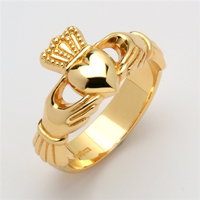 14k Yellow Gold Xtra Heavy Men's Claddagh Ring 13mm