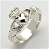 14k White Gold Xtra Heavy Men's Claddagh Ring 13mm