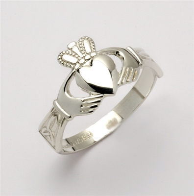10k White Gold Small Claddagh Ring With Trinity Knot Cuffs 9mm