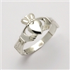 14k White Gold Small Claddagh Ring With Trinity Knot Cuffs 9mm