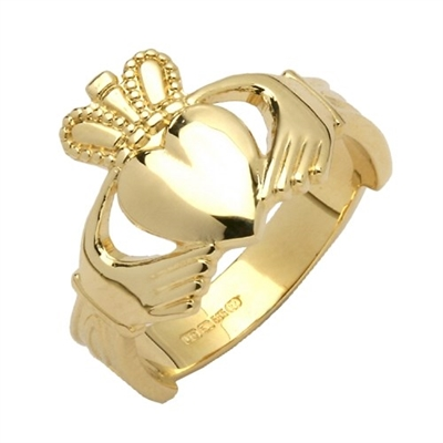 14k Yellow Gold Ladies Claddagh Ring With Trinity Knot Cuffs 11mm