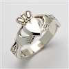 14k White Gold Ladies Claddagh Ring With Trinity Knot Cuffs 11mm