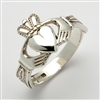 14k White Gold Men's Claddagh Ring With Trinity Knot Cuffs 14mm