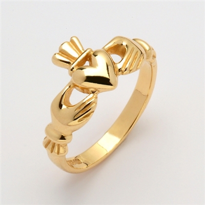 "10k Yellow Gold Heavy Men's ""Mo Chroi"" Claddagh Ring 11mm"