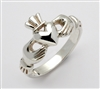 "14k White Gold Heavy Men's ""Mo Chroi"" Claddagh Ring 11mm"