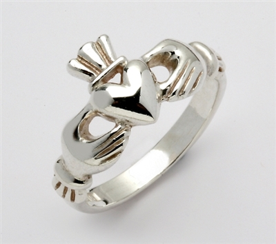 "14k White Gold Ladies ""Mo Chroi"" Claddagh Ring 10.5mm"