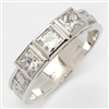 14k White Gold 3 Stone Ladies Diamond Claddagh Ring