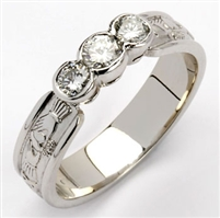 14k White Gold Ladies Diamond Claddagh Ring