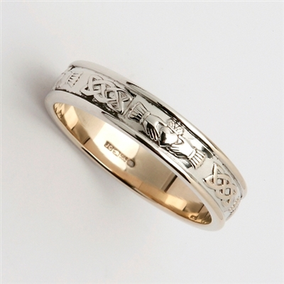 14k White Gold Ladies Narrow Claddagh Wedding Ring 4.6mm