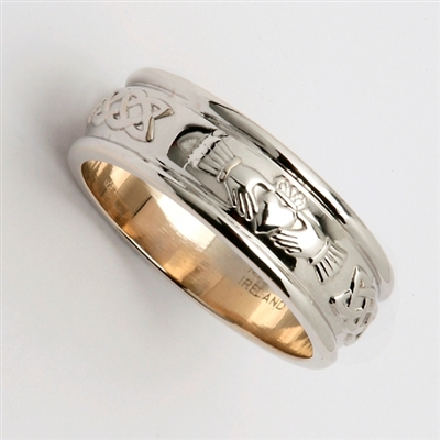 Platinum Ladies Claddagh Wedding Ring 7mm
