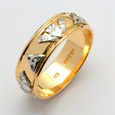14k Yellow Gold Men's Wide Claddagh Wedding Ring 8.1mm