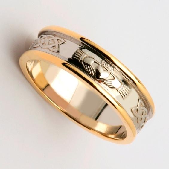 14k Gold 2 Tone Men S Claddagh Wedding Ring 6 7mm