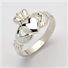 10k White Gold Ladies Extra Heavy Claddagh Ring 11.5mm