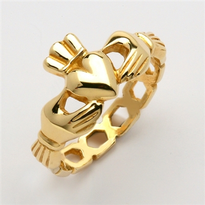 "10k Yellow Gold Men's Pierced ""Mo Chroi"" Claddagh Ring 10.5mm"
