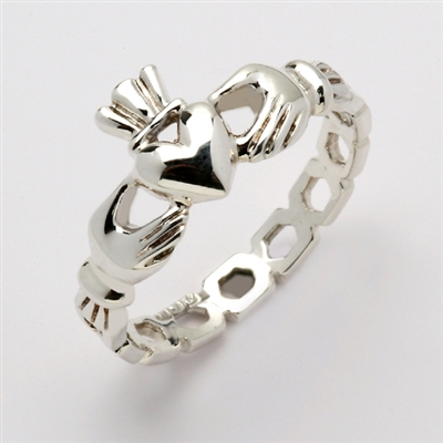 "10k White Gold Men's Pierced ""Mo Chroi"" Claddagh Ring"