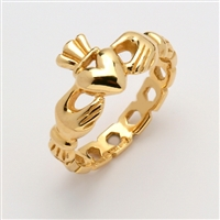 "10k Yellow Gold Ladies Pierced ""Mo Chroi"" Claddagh Ring 10.5mm"