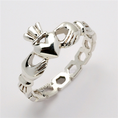 "14k White Gold Ladies Pierced ""Mo Chroi"" Claddagh Ring 10.5mm"