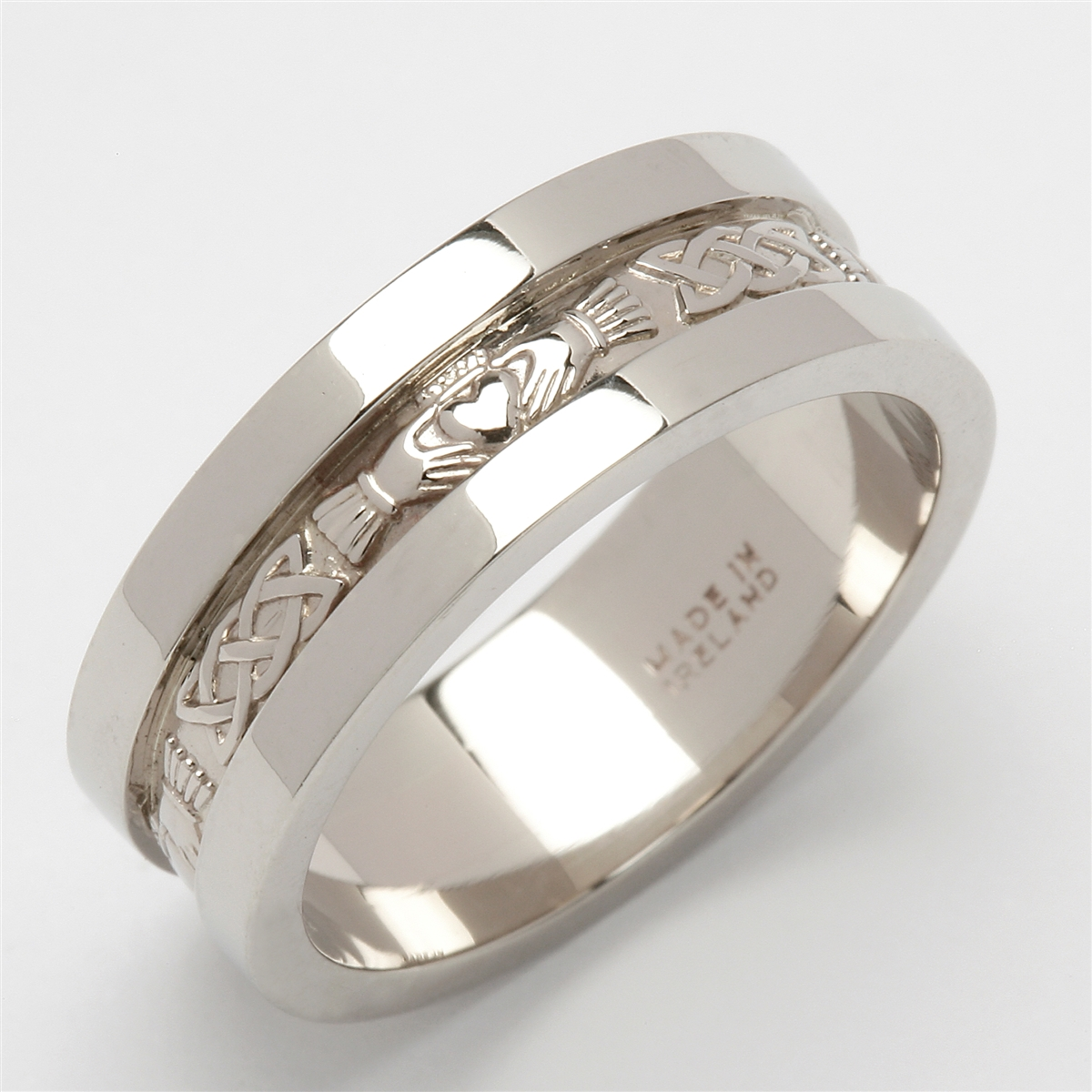 and trinity with claddagh two bands gold ladies celtic tone sterling silver detail band