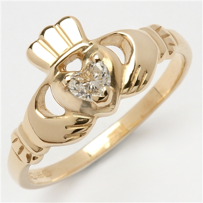 14k Yellow Gold Ladies Diamond Claddagh Ring