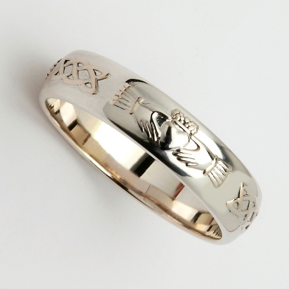 14k white gold mens celtic claddagh wedding ring 45mm - Mens Claddagh Wedding Ring