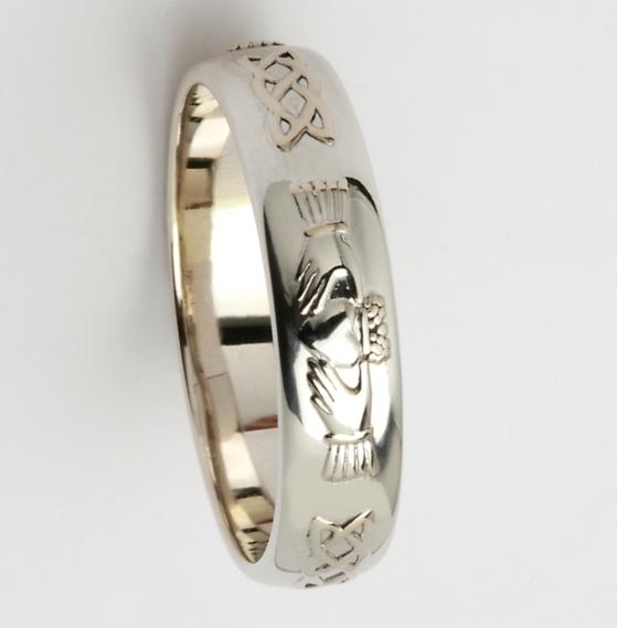 Sterling Silver Mens Celtic Claddagh Wedding Ring 45mm