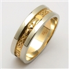 14k Yellow Gold Men's Claddagh Wedding Ring With White Rims 6mm