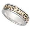 Sterling Silver & 10k Yellow Gold Ladies Celtic Claddagh Ring
