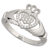 Sterling Silver Ladies Cubic Zirconia Claddagh Ring