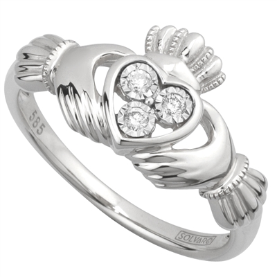 14k White Gold Ladies 3 Stone Diamond Claddagh Ring 10mm