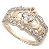 14k Yellow Gold Ladies Diamond Claddagh Ring 10mm