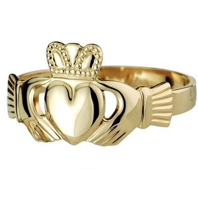 14k Yellow Gold Ladies Heavy Claddagh Ring 11mm