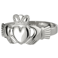 Sterling Silver Ladies Heavy Claddagh Ring 11mm