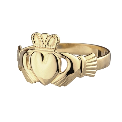 14k Yellow Gold Small Standard claddagh Ring 11mm