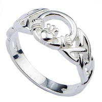 Sterling Silver Ladies Celtic Font Claddagh Ring 10mm