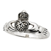 Sterling Silver Ladies Marcasite Claddagh Ring