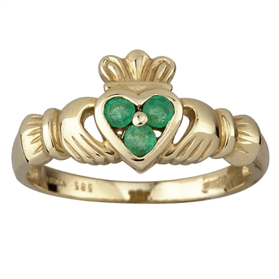 14k Yellow Gold 3 Emerald Heart Set Claddagh Ring 10mm