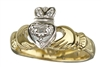 18k Yellow Gold Diamond Heart Claddagh Ring 12mm