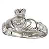 18k White Gold Diamond Heart Claddagh Ring 12mm
