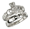 18k White Gold Diamond Heart Claddagh Engagement Ring Set
