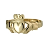 14k Yellow Gold Small Heavy Claddagh Ring 9mm