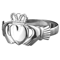 14k White Gold Small Heavy Claddagh Ring 9mm