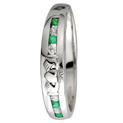 14k White Gold Ladies Emerald & Diamond Eternity Claddagh Ring 4.5mm
